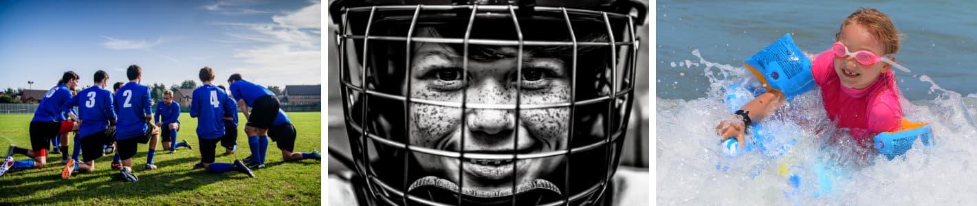 Colaj cu trei imagini cu copii practicand sport
